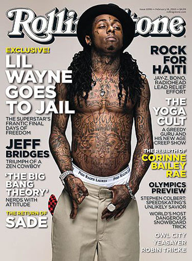 Jail-bound rapper Lil' Wayne covers the February issue of Rolling Stone