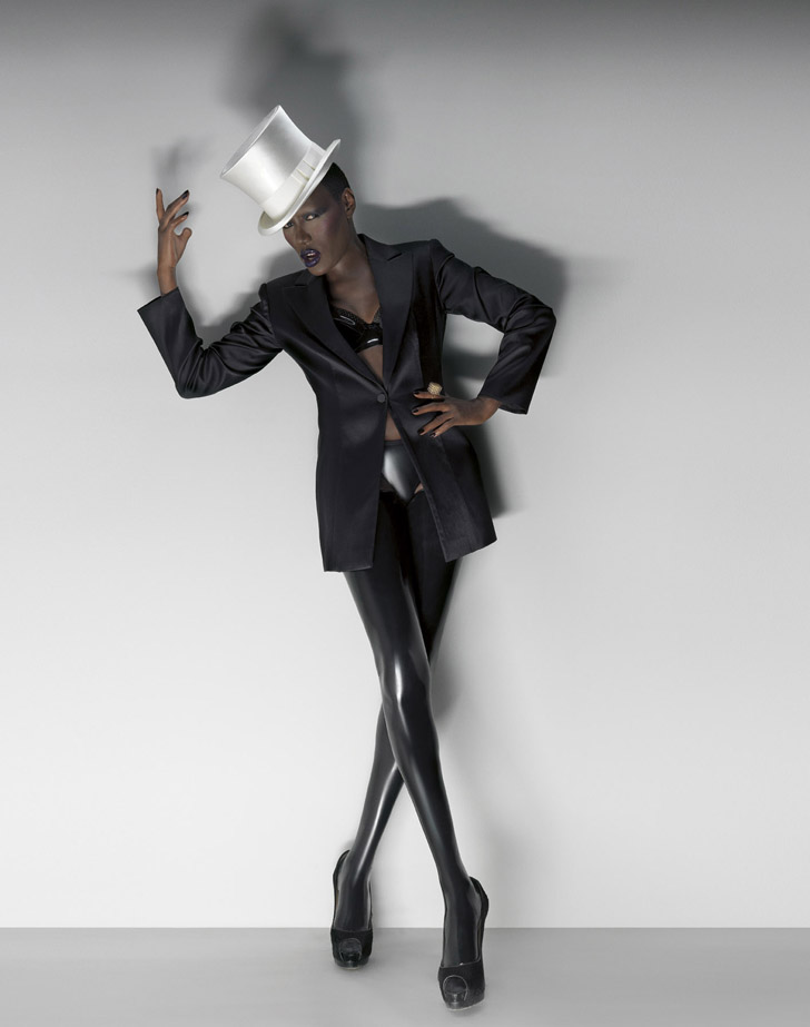 gracejones fashion4 Grace Jones Talks Lady GaGa Collaboration: Id Prefer To Work With Somone Who Is Not Copying Me