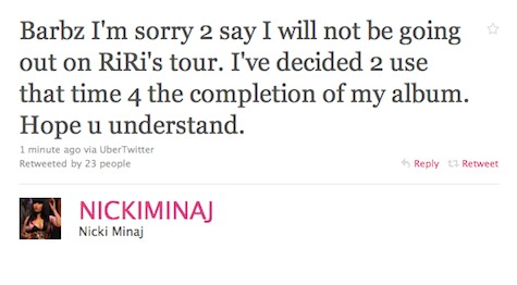 nicki rihanna Nicki Minaj Pulls Out Of Rihanna Tour