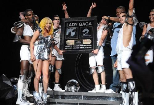 gaga award e1281611668415 Hot Shot: Lady GaGa Awarded Plaque For 13 Million Albums Sold