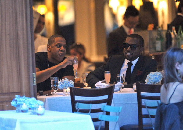 k j 2 Hot Shots: Kanye West & Jay Z Do Dinner