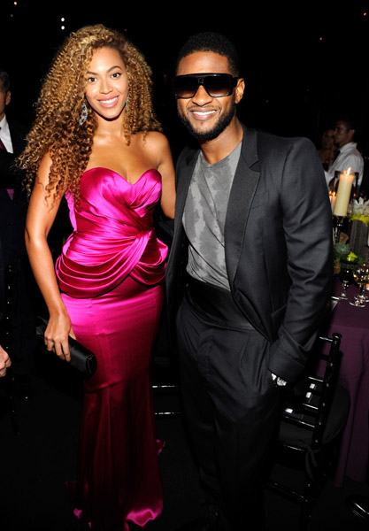 beyonce usher1 Hot Shots: Whitney, Beyonce, Alicia, Jennifer Hudson, & More At Keep A Child Alive Ball