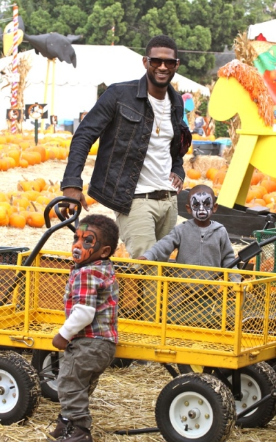 usher Hot Shots: Usher Spends Birthday With Sons In Pumpkin Patch