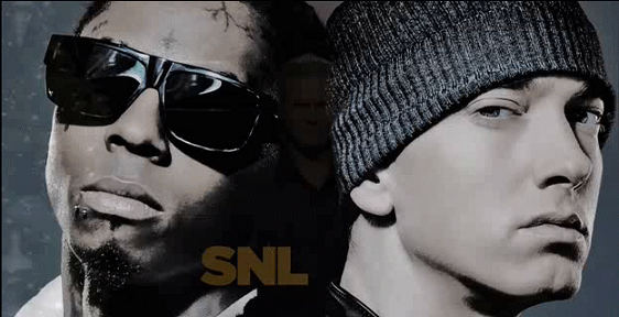 Eminem and Lil Wayne hit the stage on the year-ending episode of 'Saturday