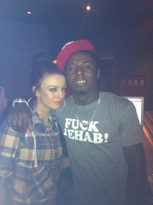 cher lloyrd e1294924115345 Hot Shot: Cher Lloyd In Studio With Lil Wayne