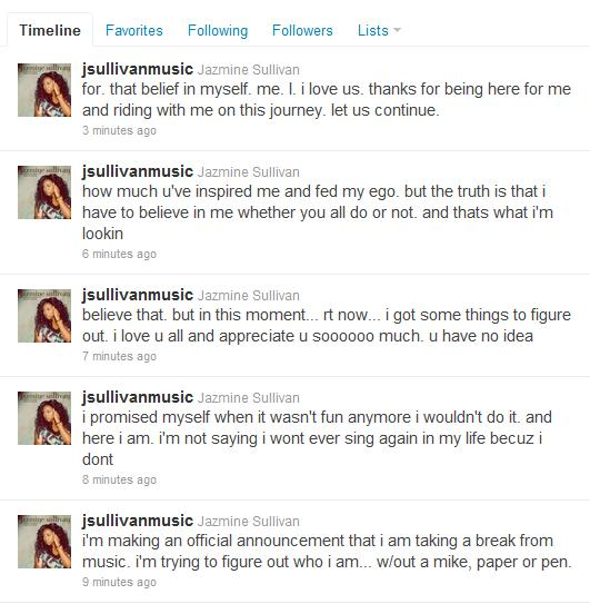 jazminetweet Quote Of The Day: Jazmine Sullivan Announces Departure From Music