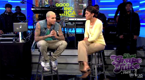 cb gma Chris Brown Visits Good Morning America