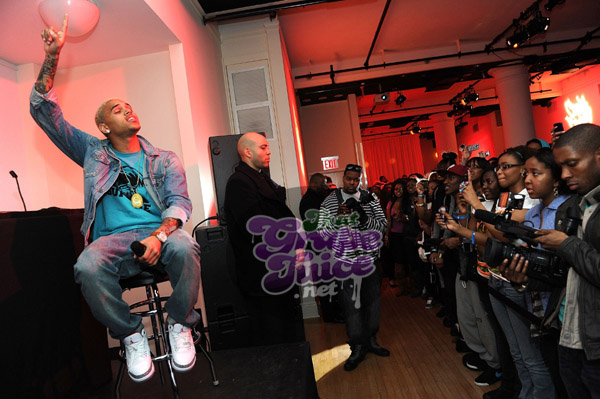 chrisbrown62 Hot Shots: Chris Brown Hosts F.A.M.E Listening Session In NYC