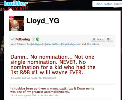 lloydtweet3 Lloyd Voices Disappointment Over BET Awards Nominations
