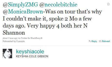keyshia cole tweet Keyshia Cole Speaks on Absence from Monicas Wedding