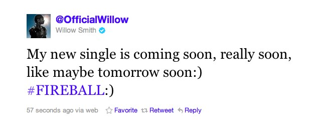 Twitter   @OfficialWillow  My new single is coming so ... Willow Smith Readies New Single