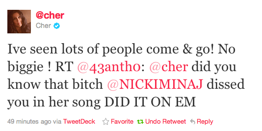 Cher V Nick M Cher And Nicki Minaj Clash On Twitter