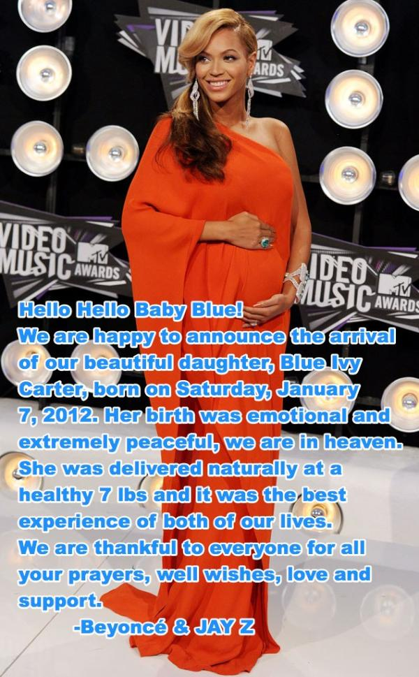 BLUE IVY OFFICIAL PRESS RELEASE Must See: Beyonce & Jay Z Official Statement On Blue Ivy