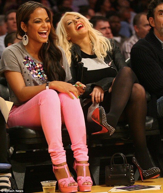 Christina Aguilera and Christina Milian at NBA GAME