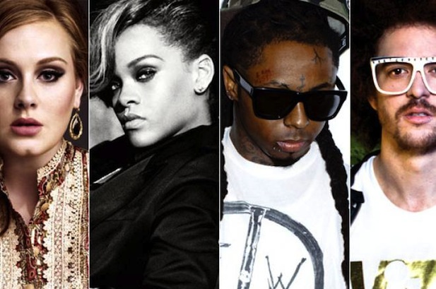 1976489 finalists adele rihanna lmfao wayne flashbox 0 Must See: 2012 Billboard Music Awards Nominees (Full List)