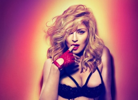 Madonna MDNA promo shot bra2 MDNA : Madonna Sales Dip Continues