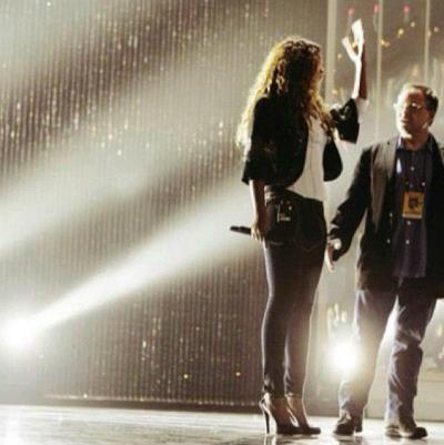 Beyonce rehearses Revel