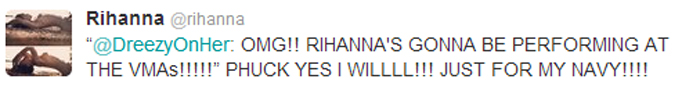 RIHANNA 2012 VMA CONFIRMATION TWEET Rihanna To Perform At MTV Video Music Awards 2012