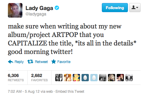 lady gaga artpop Lady GaGa Confirms ARTPOP Album Title