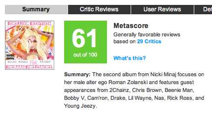 NICKI MINAJ UPDATED METACRITIC SCORE