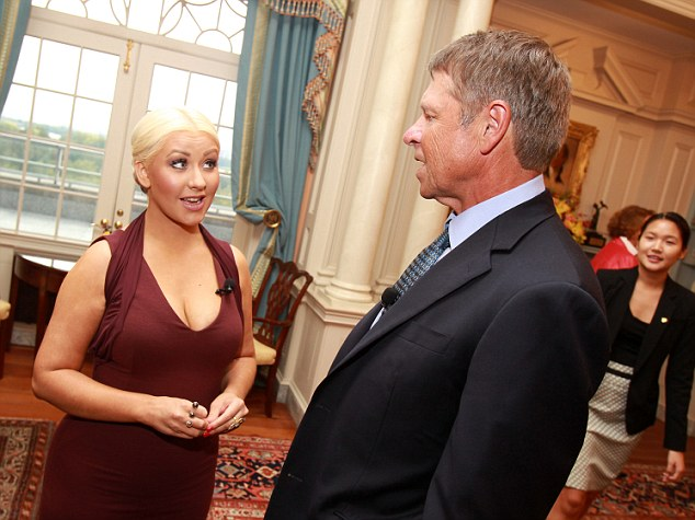 CHRISTINA AGUILERA AND DAVID NOVAK Hot Shots: Christina Aguilera Fights World Hunger In Washington