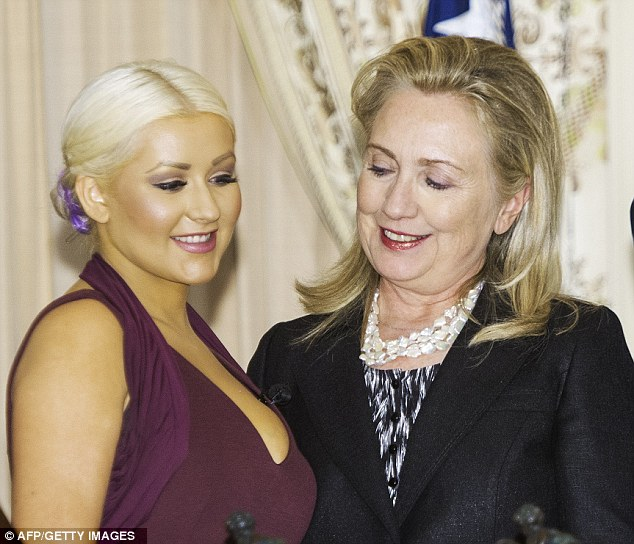CHRISTINA AGUILERA HILARY CLINTON WASHINGTON DC Hot Shots: Christina Aguilera Fights World Hunger In Washington