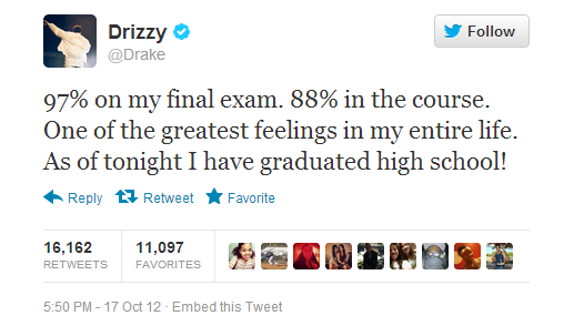 DRAKE GRADUATES FROM HIGH SCHOOL THAT GRAPE JUICE