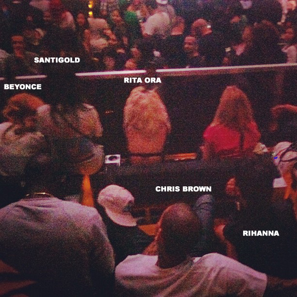 chris brown rihanna jay z concert Hot Shot: Chris Brown And Rihanna Heat Up With Beyonce & Rita Ora