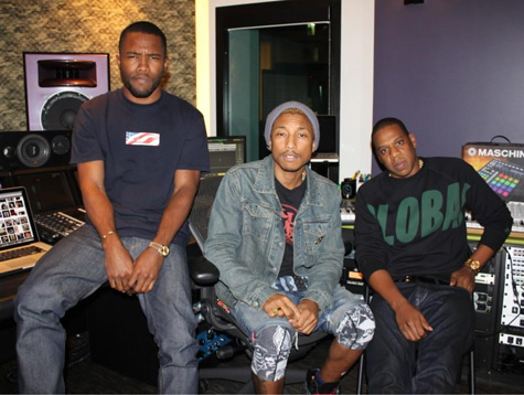 frank ocean pharrell jay z Hot Shot: Frank Ocean Hits The Studio With Pharrell Williams & Jay Z