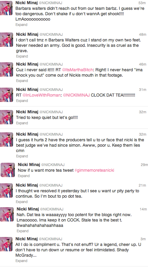 nicki tweets Meow: Nicki Minaj Continues To Slam Mariah Carey Over American Idol Drama