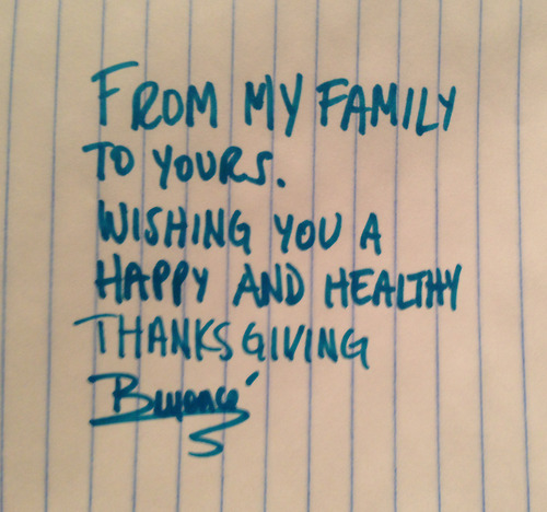 BEYONCE WISHES THE WORLD A HAPPY THANKSGIVING