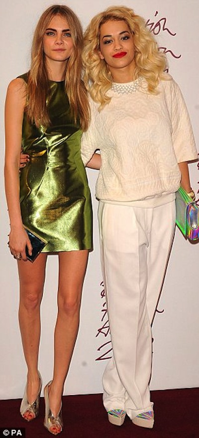 RITA ORA CARA BRITAIN FASHION AWARDS