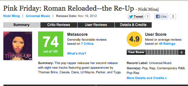 NICKI MINAJ THE RE-UP METACRITIC SCORE