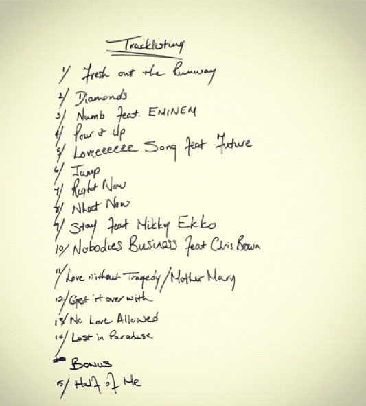 rihanna unapologetic tracklist Rihanna Unveils Official Unapologetic Tracklisting / Collaborations