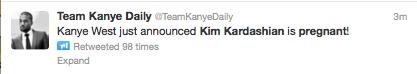 Kanye West Announces Kim Kardashian Pregnancy