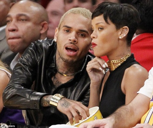 cb rihanna e1356486191974 Nobodys Business: Rihanna & Chris Brown Get Cosy At NBA Game
