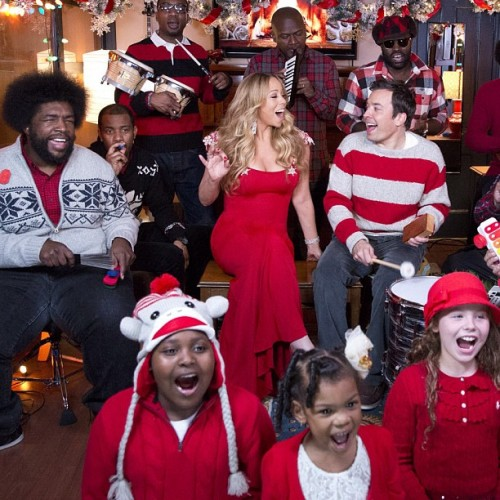 mariah carey kimmel christmas2012 e1354706030803 Watch: Mariah Carey Performs All I Want For Christmas Is You On Fallon