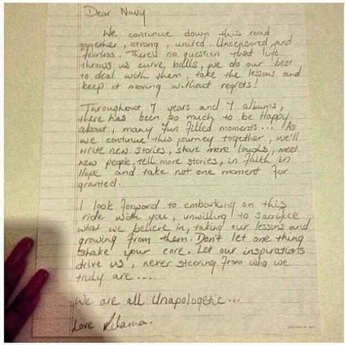 rihanna letter unapologetic thatgrapejuice e1355417015204 Rihanna Writes Unapologetic Letter To Navy