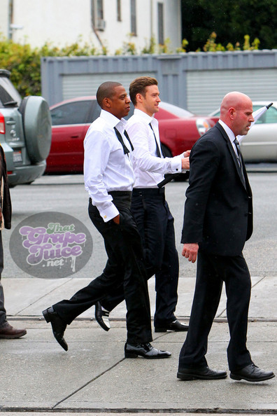 Justin+Timberlake+Jay+Z+suit tie2 Hot Shots: Justin Timberlake & Jay Z On Set Of Suit & Tie