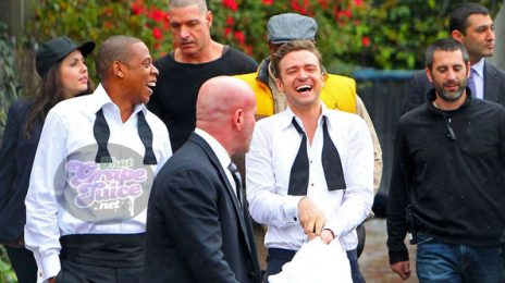 Hot Shots: Justin Timberlake & Jay-Z On Set Of 'Suit & Tie'