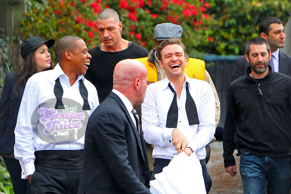 Justin+Timberlake+Jay+Z+suit tie3 Hot Shots: Justin Timberlake & Jay Z On Set Of Suit & Tie