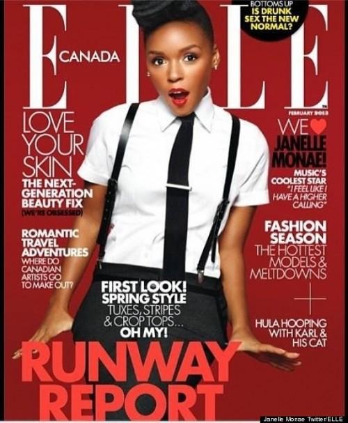 janelle monae elle 2013 e1357484560148 Hot Shot: Janelle Monae Covers Elle Canada