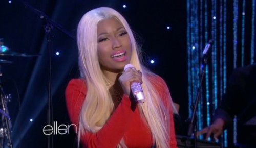 nicki minaj ellen 2013 freedom e1358273194732 Watch: Nicki Minaj Belts Out Freedom On Ellen