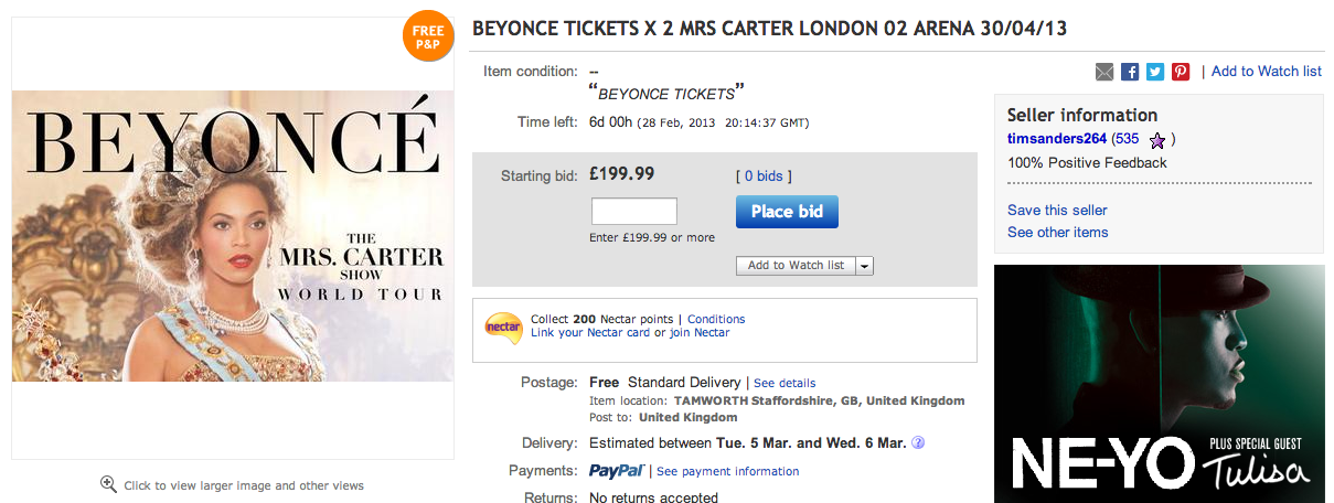 BEYONCE MRS.CARTER SHOW EBAY THAT GRAPE JUICE 02: 3 Million Users Attempted To Buy Beyonce Tickets
