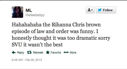 Screen Shot 2013 02 28 at 14.41.14 Rihanna Fans Respond To Law & Order: SVU Drama