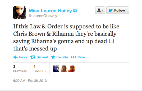 Screen Shot 2013 02 28 at 14.43.58 Rihanna Fans Respond To Law & Order: SVU Drama