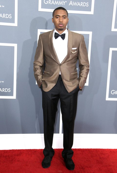nas grammys 2013 Grammy Awards 2013: Red Carpet Arrivals