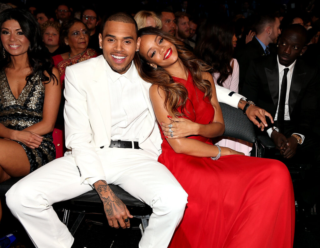 rihanna chris brown grammys 2013 Grammy Awards 2013:  Backstage