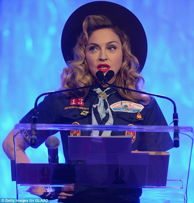 article 2294668 18B9B18D000005DC 285 634x661 Madonna Attends GLAAD Media Awards...Dressed As A Boy Scout / Delivers Rousing Speech Against Organization