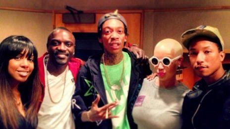 Hot Shots: Kelly Rowland Hits The Studio With Pharrell Williams & Wiz Khalifa